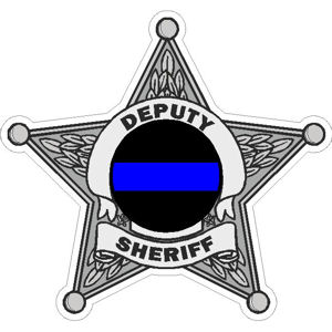 5 Point Deputy Sheriff Blue Line Badge Decal At Sticker