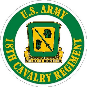 STICKER US ARMY 18TH CAVALRY REGIMENT
