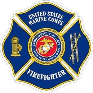 united states marine corps firefighter maltese cross vinyl sticker