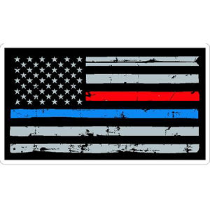 Thin Red Blue Line Flag Distressed - Vinyl Sticker at Sticker Shoppe 2bf6cc5025a