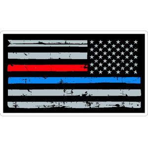 Thin Red Blue Line Flag Distressed Reverse - Vinyl Sticker Item  827-6177 eac1d9b734e