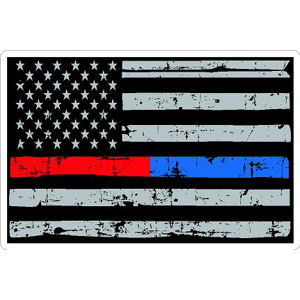 Thin Red Blue Line Distressed American Flag - Sticker at Sticker Shoppe 4d71a070e08