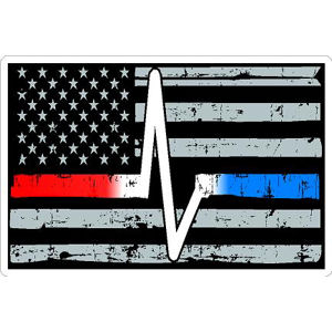 Thin Red White Blue Line Heartbeat Distressed Flag - Sticker Item  827-6546 5fee088684f