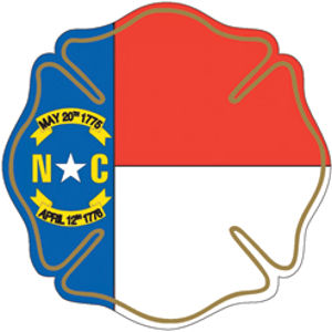 State Of North Carolina Maltese Cross Reflective Sticker At