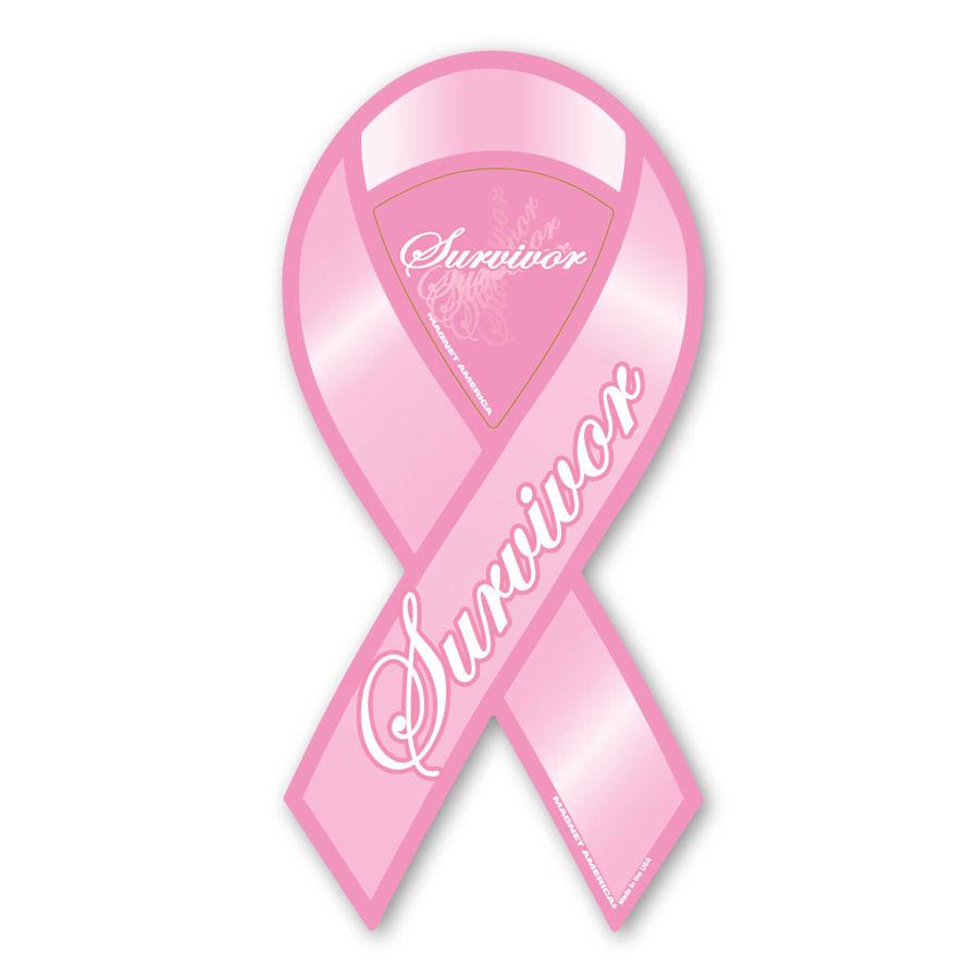 Pink Survivor - Large Ribbon Magne